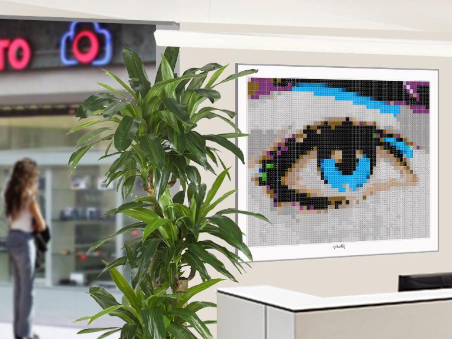 Lego, Art, Legosteinekunst, Legoart, Tolle Augen, schöne Augen, erotische Augen, blaue Augen, Augen, lange Wimpern, große Augen, Kunst, Galerie, zeitgenössische Kunst, moderne-Pop Art, Augenkunst, Auge und Kunst, Augenpraxis, Augenarztpraxis, Wartezimmerk