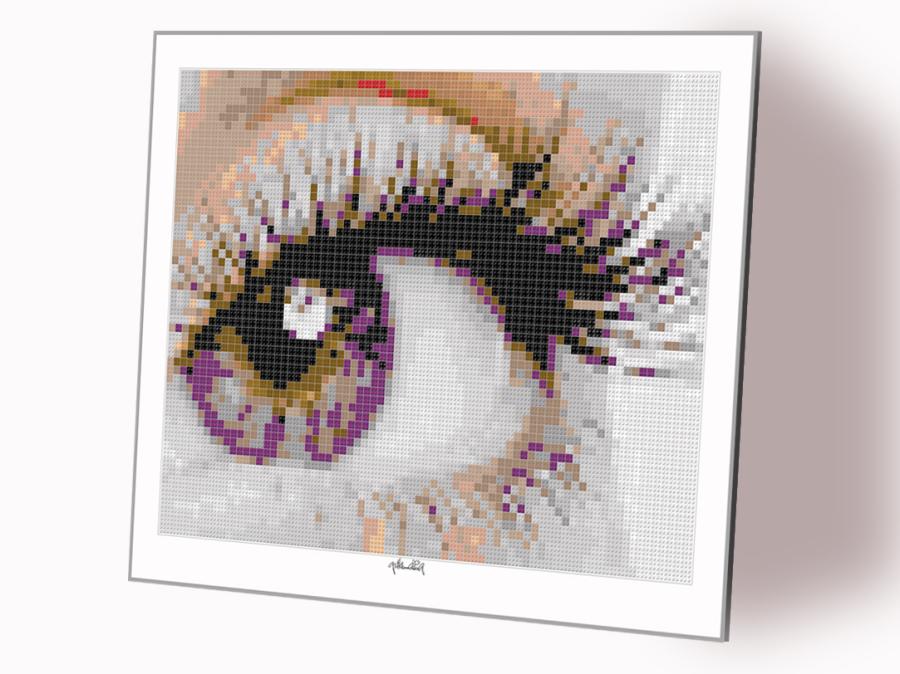 Lego, Art, Kunst aus Legosteinen, Tolle Augen, schöne Augen, erotische Augen, blaue Augen, Augen, lange Wimpern, große Augen, Kunst, Galerie, zeitgenössische Kunst, moderne-Pop Art, Augenkunst, Auge und Kunst, Augenpraxis, Augenarztpraxis, Wartezimmerkuns