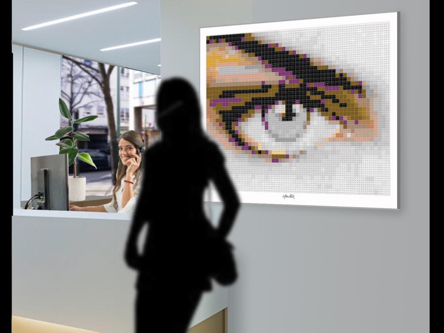 Lego, Art, Legosteinekunst, Lego und Kunst, Tolle Augen, schöne Augen, erotische Augen, blaue Augen, Augen, lange Wimpern, große Augen, Kunst, Galerie, zeitgenössische Kunst, moderne-Pop Art, Augenkunst, Auge und Kunst, Augenpraxis, Augenarztpraxis, Warte