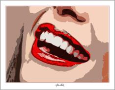 Phantastische Lippen, schöne Zähne, perfekte Zähne, erotische Lippen, rote Lippen, Lippen, schöne Lippen, Lippenkunst,