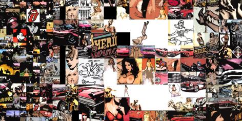 Stars & Stripes, USA, golden sixties, Hot Dog, Hamburger, Mc Donnalds, Steakhouse, Micky Mouse, Donald, Wallstreet, New York, Edward Hopper, Wolkenkratzer, Coca Cola, Jayne Mansfield,