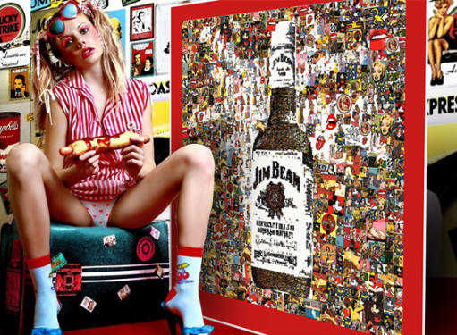 Jim Beam, Pop Art Kunst, Erotische Kunst, nackt, Frau, Sexy, Kunst und Erotik, Erotik in der Kunst, erotische Darstellung, moderne Kunst, zeitgenössische Kunst, Pop art, amerikanische Pop Art, Pin-up, Pin-up Kunst,  Kunst, Art, Galerie, Kunstgalerie, zeit