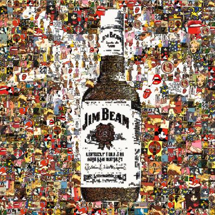 Flasche Jim Beam, Pop-Art Kunst, Erotische Kunst, nackt, Frau, Sexy, Kunst und Erotik, Erotik in der Kunst, erotische Darstellung, moderne Kunst, zeitgenössische Kunst, Pop art, amerikanische Pop Art, Pin-up, Pin-up Kunst,  Kunst, Art, Galerie, Kunstgaler