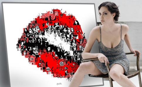 erotisches Kunstbild, rote Lippen,