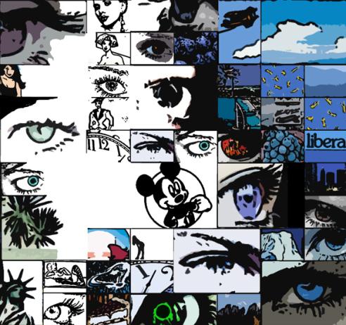 blaue Augen, Augenkunst, Wandbilder für Augenärzte und Augenarztpraxen,