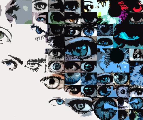 blaue Augen, Kunst, Wandbild