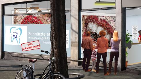 Werbung, Eingang, Gestaltung, Zahnarzt