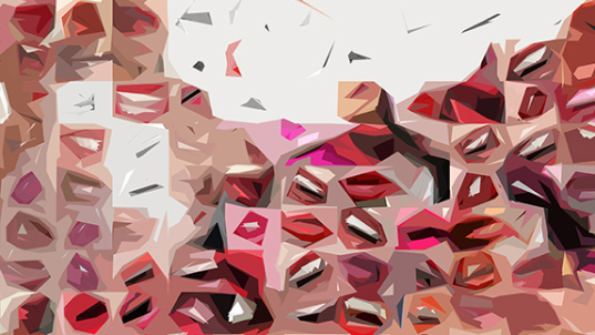 Phantastische Lippen, schöne Zähne, rote Lippen