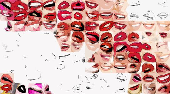 schöne Zähne, erotische Lippen, rote Lippen