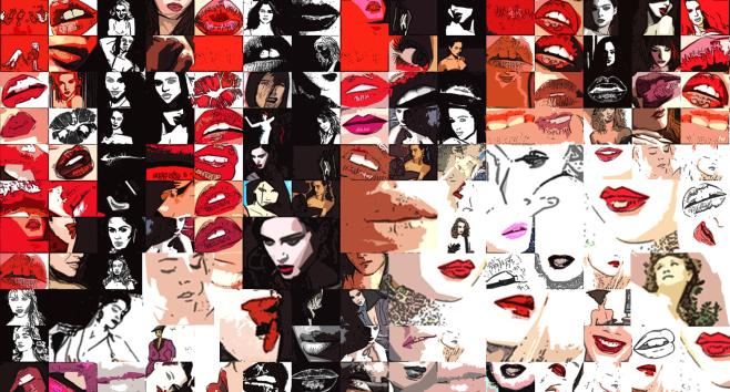 Phantastische Lippen, schöne Zähne, rote Lippen, Kunst