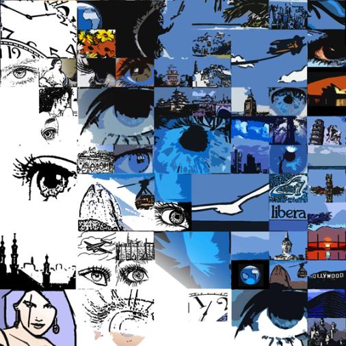 Augen-Kunst, erotische Augen, blaue Augen, Auge und Kunst,