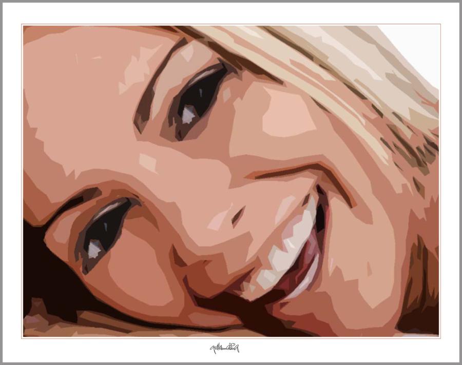 Portrait, blonde Haare, rote Lippen