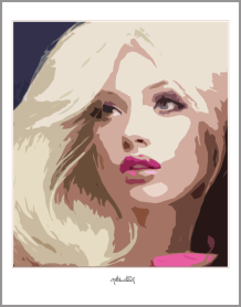 Portrait, blode Haare, rote Lippen