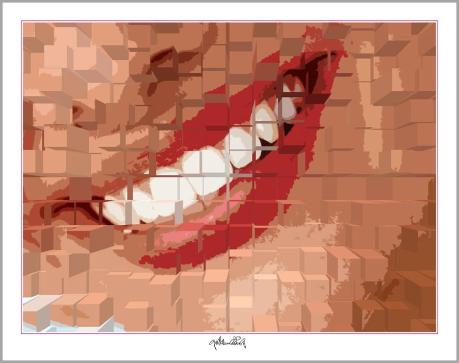 Kunst und rote Lippen, Foyer Zahnarztpraxis