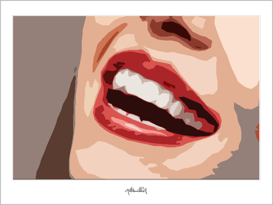 Wandbild Wartezimmer, rote Lippen