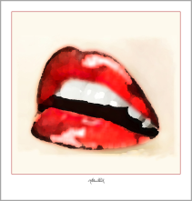 Wandbild Wartezimmer,  rote Lippen, Kunstgrafik, Wandbild
