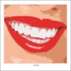 perfekte Zähne,  rote Lippen,