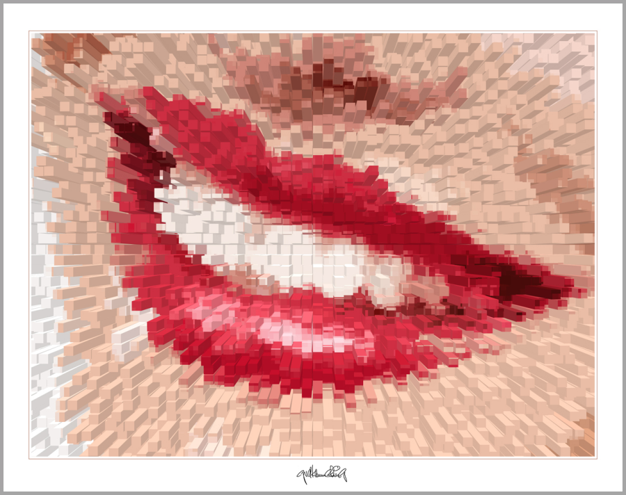 rote Lippen, Lippenkunst, Zahnkunst, Zahnpraxis, Wartezimmerkunst