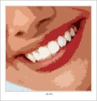 schöne Zähne, perfekte Zähne, Postedruck, Kunstdruck