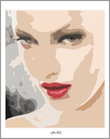 Portrait, erotischer Mund, Kunstbild