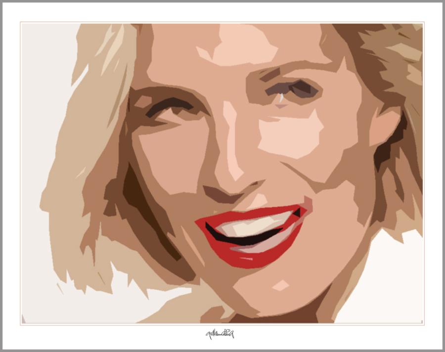 Kunstdruck, Grafik, Portrait, blonde Haare, rote Lippen