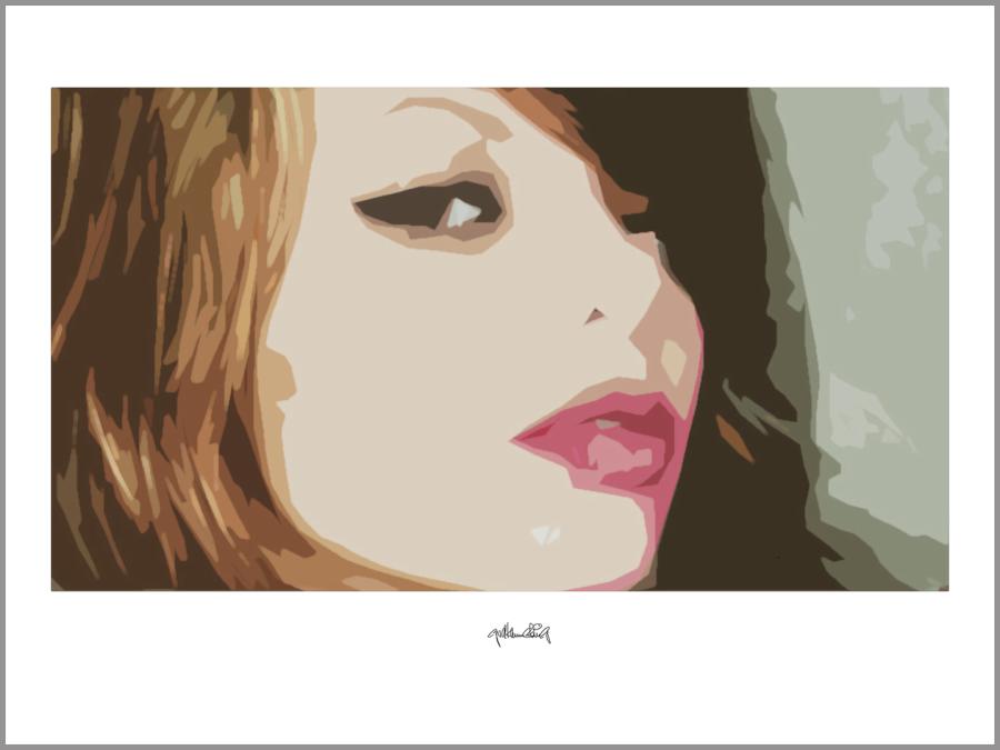 Portrait, sinnliche Lippen, Grafik