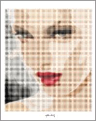 Portrait, roter Mund, tolle Lippen, Kunstdruck