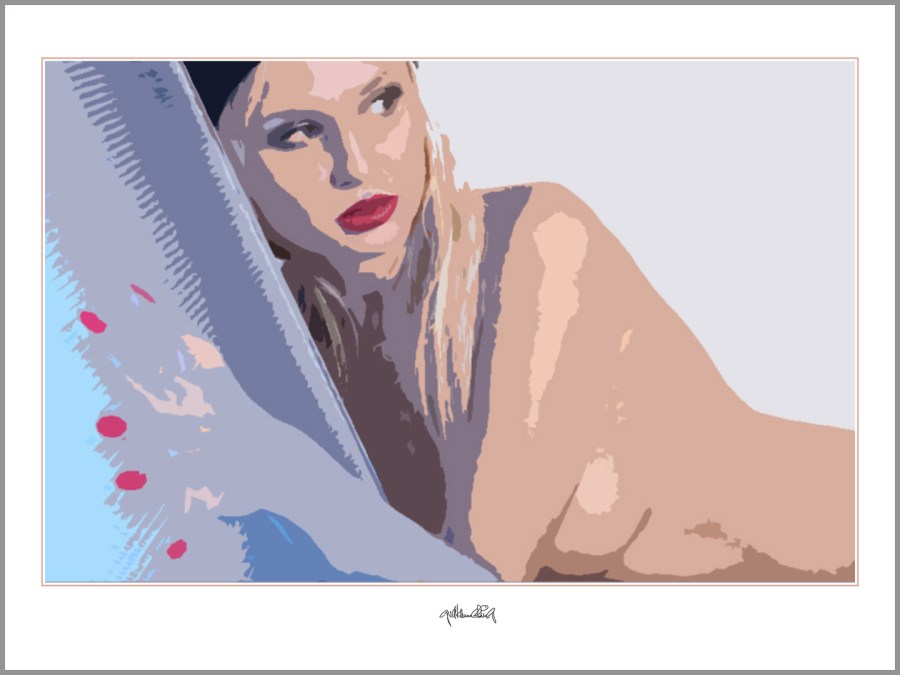 Portrait, erotischer Akt, rote Lippen