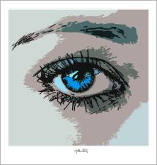 blaue Augen, Augen, lange Wimpern, große Augen, Augenkunst, Auge und Kunst, Augenpraxis, Wartezimmerkunst,