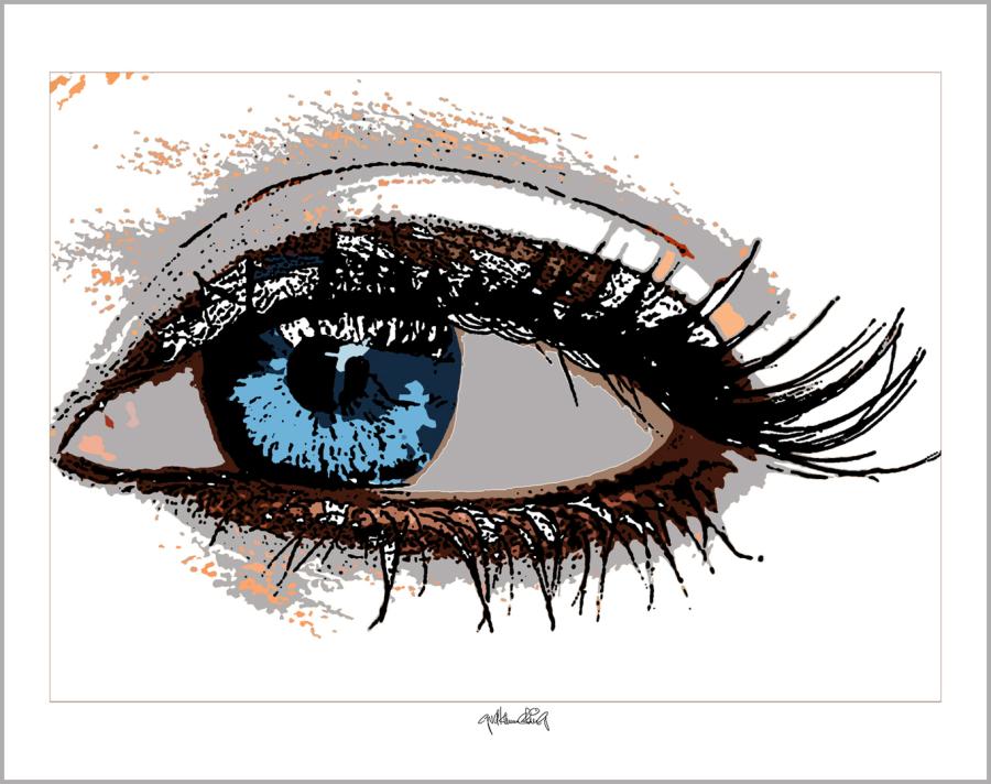 blaue Augen, Augen, lange Wimpern, große Augen, Augenkunst, Auge und Kunst, Augenpraxis