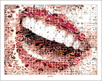 rote Lippen, Kunstgrafik, Wandbild