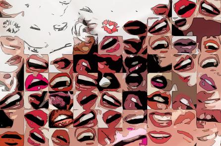 Rote Lippen, Kunst Zahnarztpraxen, Kunst Zahnarzt, Zahn-Kunst, Zahnarzt Wartezimmer,
