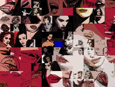 Lippe, Zähne, Kunst, Fotografie, Wandbild, Zahnkunstdruck
