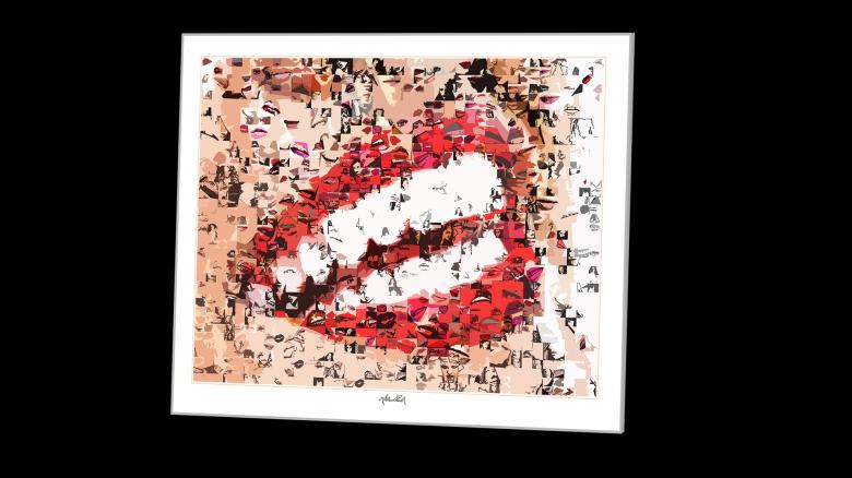 Bild, rote Lippen, Fotografie, Kunst, Zahnarztpraxis