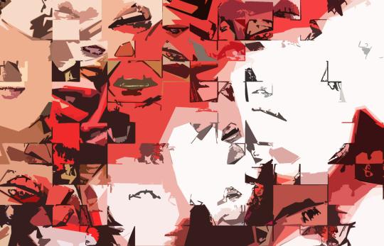 Rote Lippen, Kunst, Wandbild, Kunstdruck
